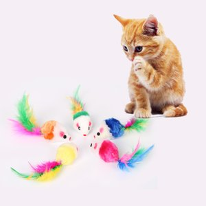 Colorful Feather Grit Small Mouse Cat Toy For Cat Feather Divertente gioco Pet dog Cat Piccoli animali piuma Giocattoli Gattino