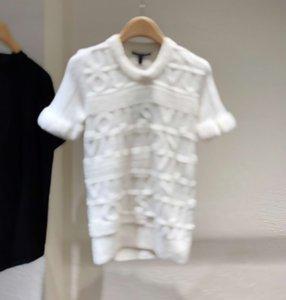 Verão novo Três carta dimensional lã alívio tricô impressão curta - T-shirt de mangas blusas casuais zdl0628.