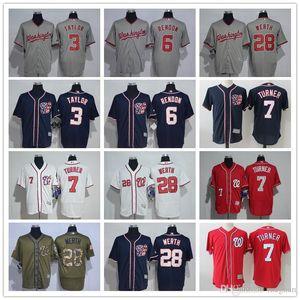 Hommes Femmes Jeunes Nationals Baseball Jersey # 7 Trea Turner 6 Anthony Rendon 3 Michael Taylor 28 Jayson Werth Baseball Jersey