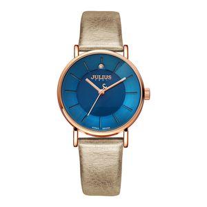 Promosyon Julius Saatler Moda İş Kadınlar Deri Kayış Japonya Kuvars Movt Orijinal Tasarımcı Saat Relogio Relojes JA-921