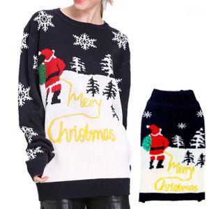 Designer Maglioni Fashion Blocco Natale Stampa natale Maglioni da donna Casual Crew Neck Females Abbigliamento Natale Day Womens