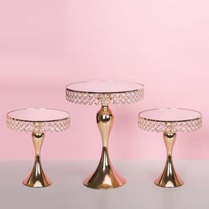 Goldene Kristalltortenständer Galvanik Spiegel Gesicht Startseite Hochzeit Dekor-Kuchen-Standplatz-Tray-Party Tischdekoration