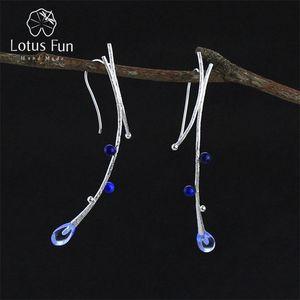 Lotus Fun réel Argent 925 main Creative naturelle Fine Jewelry branche d'arbre ethnique Dangle Boucles d'oreilles pour