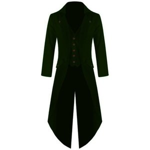 2019 Men's Coat Jacket Solid Punk Retro Tuxedo Male Tailcoat Suits Autumn Windbreaker Long Blazer Trench Coats Plus Size 4XL