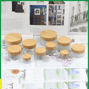5g 15g 30g 50g 100G Пустой матового стекла Jar горшок с Bamboo крышкой для ухода за кожей крем для глаз маски Косметические контейнеры Refill бутылки