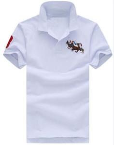 Summer Polos Big poney coton pour hommes T-shirt décontracté à manches courtes Slim Fit Sport T-shirts nautica Racing Loisirs Blanc Polos