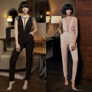 2019 New Jumpsuits Beaded Evening Dress Pants Mordern Illusion Runway Fashion Cap Sleeve Pant Suit Ankle Length Jumpsuits With Pockets