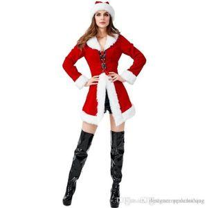 Costumes Red Sexy Ladies Cosplay Partido Cos manga comprida Moda 4PCS Mulheres Define Christmas Theme Costume