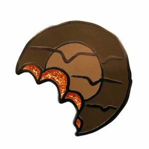 Glitter Jaffa Cake brooch chocolate toned enamel badge classic childhood biscuit pin snacks jewelry