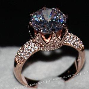Victoria Wieck Luxuxschmucksachen 8ct Solitaire 11mm weiß Saphir simulierte Diamant-Hochzeit Rose Gold Crown Band-Frauen Ringe Geschenk Größe 5-11