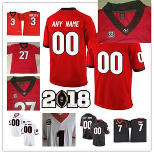 Özel 2018 Gürcistan Bulldoglar Rose Bowl Koleji Futbol Jersey Kişiselleştirilmiş Mecole Hardman İşaya Wynn Roquan Smith Gürcistan Bulldogs Formalar