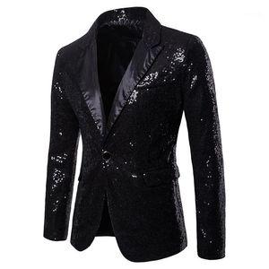 Fashion Panelled Skinny Mens Club Coats V Neck Sequins Single Button Mens Party Blazer