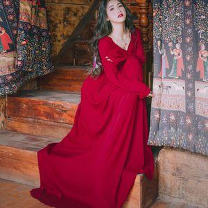 Best Quality Series Elegant Dress Burgundy Red Chiffon Long Lantern Sleeve Maxi Party Wedding Beach Holiday Women Dresses 903