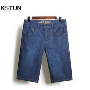 KSTUN Denim Jeans Shorts Hommes Ultra-mince Bleu Regular Fit Shorts Longueur du genou Casual vêtements élastiques de grande taille 35 38