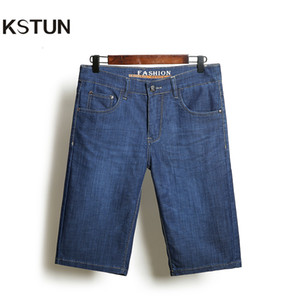 KSTUN Denim Shorts Jeans Männer ultradünne Blau Regular Fit beiläufige Knielänge Shorts Elastic Kleidung Größe 35 38