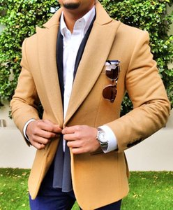 New Men Wool Jacket Peaked Lapel Prom Wedding Waistcoat Custom Made Slim Fit Two Button Groomsmen Blazer