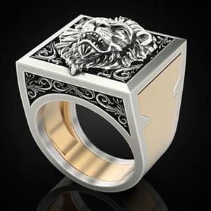 Vintage Style Lion Two Tone 925 anelli d'argento per gli uomini Hip Hop Anello regali del partito, formato 7/8/9/10/11/12/13