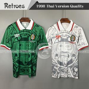 1998 Mexique rétro Jersey 98 Mexique Accueil Vert Hernandez Blanco Campos # 11 Blanco Away Blanc Classic Football Jerseys Shirts