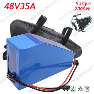 Высокое качество 48V 35AH 2000W треугольник литий-ионный аккумулятор используйте Sanyo Cell Ebike Battery fit 48V 750W / 2000W Bafang mid-drive motor.