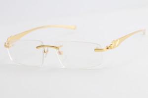 بيع نمر الساخن بدون إطار الذهب البصرية سلسلة معدنية ساحة نظارات نظارات نظارات الذكور والإناث مع صندوق C الديكور إطار الذهب GLA