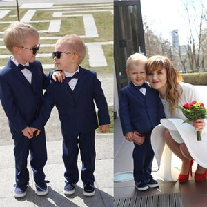Navy Boys Formal Suits Dinner Tuxedos Little Boy Groomsmen Kids Children Special Occasion Suit Formal Wear (Jacket+Pants)