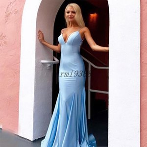 Sexy Spaghetti Straps V Neck Mermaid Evening Dresses Long Satin Formal Evening Gowns Prom Party Dress Plus Size Vestidos De Soiree