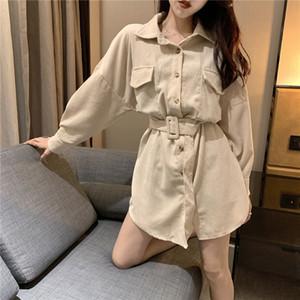 Gagarich Chic Solide Frauen Corduroy Shirt Bequem Langarm Female Sash Bluse lose Top Street Tasche koreanische Kleidung