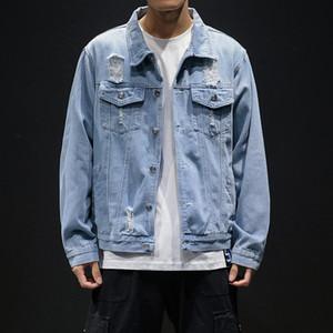 Septhydrogen Moda Marka Erkekler Açık Mavi Denim Ceket Delikler Jean Streetwear Casual Denim Coats Erkekler Pamuk Dış Giyim İnce Denim Ceket