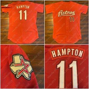 Пользовательские астронавты Майк Hampton Golden 100% Double прошитой Вышивка Оранжевый Бейсбол Джерси высшего качества Mens S-XXXL
