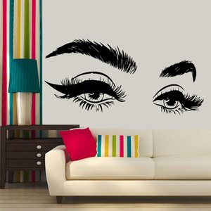 2020 New Arrivels Beautiful Eyelashes Eye Vinyl Wall Sticker Decal Modern Home Decor Art Salon Girls Eyes Eyebrows Wall Decals
