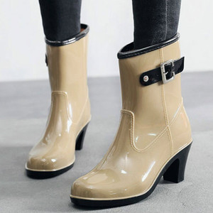 2019 New Leisure rain boots women Low-Heeled Round Toe Shoes Waterproof Middle Tube Rain Boots chaussures femmes botas mujer 7.8 T200630