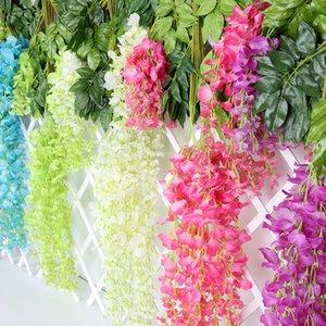 Artificial Wisteria Flowers Vines 110cm Long Wedding Decor Flower 6 pcs Garland Silk Decorative Flowers Home Fake Flower Vine