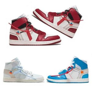 2019 alta qualità 1 bianco polvere blu scarpe da basket per uomo 10X Chicago allevati 1s mens OFF scarpe da ginnastica atletico scarpe da ginnastica sportive