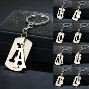 Новый Diy A-Z Letters Key Chain для мужчин металла брелок из нержавеющей стали Женщины автомобилей Key Ring Simple Letter Имя держателя ключа партии подарка ювелирных изделий