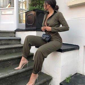 Pulsante Fuedage estate pagliaccetti Donne tuta tempo libero Streetwear cintura maniche lunghe tuta tute per le donne 2019 Tuta