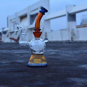 8 Inch inebriante dab vidro rig tubulação de água de vidro bong ovo fab para venda âmbar bubbler plataforma de petróleo