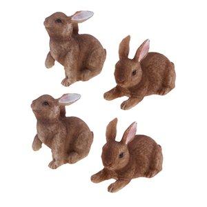 4PCS حديقة الراتنج ديكور، الأرنب البسيطة تمثال ديكور الحديقة عصاري النباتات المناظر الطبيعية DIY حلية