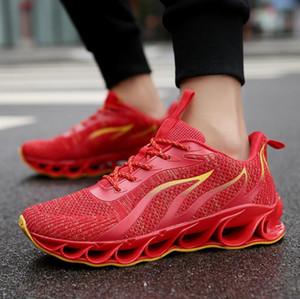 2019 Son Çıkan Bıçak erkek Tasarımcı Sneakers Avrupa ve Amerika Eğilim Rahat Spor Ayakkabı Erkekler Sönümleme kaymaz Örgü Spor Ayakkabı (7-13)