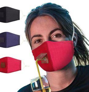 Adulto Proteja Máscara Beber Máscara com furo para Straw Lavável Dustproof Beba máscaras boca externas Rosto Algodão LJJK2363