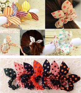 Hot Kinder Frauen Hairbands Druck Tupfen-Bogen-Kaninchen-Ohr-Stirnband-Mädchen-Ring Scrunchy Kinder Pferdeschwanz-Halter-Haar-Zusätze