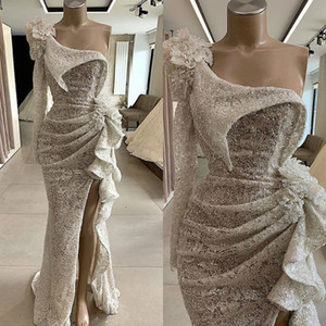 2020 Couture Sequins Lace Mermaid Prom Dress Long Sleeves One Shoulder High Split Ruffled Formal Evening Dress Chic Party Gown