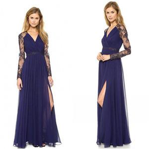 Ucuz In Stok Mavi Aline Abiye V yaka Uzun Kollu Bölünmüş Balo Resepsiyon elbise Parti Elbise LF010 ile
