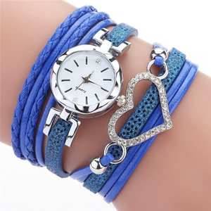 6 color ladies Love Heart watch Crystal bracelet leather watches small dial dress quartz wrist watches gift watch jewelry Wholesale TJJ215