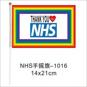 Thank You NHS Drapeau main 14 * 21cm Rainbow Flag UK Bannière Merci Vous clés travailleurs Drapeaux Banderoles pour l'Angleterre Ecosse Pays de Galles LJJA4063N