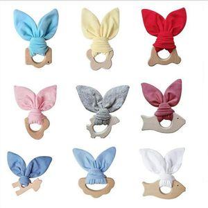 Baby Tehter кролик ушные ушные моляры тренировочные игрушки велосипедные деревянные зубы кольцо младенческие ручные погремушки новорожденные кормящие прорезывания зубов жевательные подарки игрушка D7432