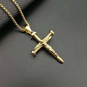 Crucifix Nail Croix Pendentif Collier Plaqué Or En Acier Inoxydable De Mode Religieux Bijoux Pour Hommes Foi Bijoux