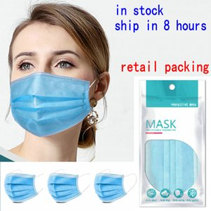 Disposable Face Masks with Elastic Ear Loop 3 Ply Breathable and Comfortable Mask Mascherina basic 3 layer Designer Protective Mask