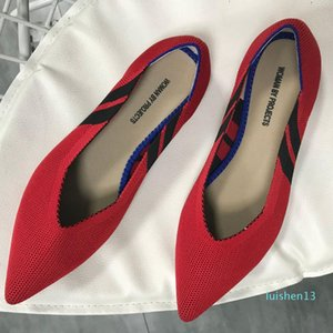 Knitted stretch fabric flats pointed toe shallow breathable shoes woman mixed color soft bottom loafers leisure casual moccasins l13