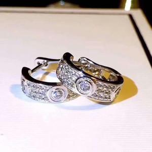 LOGO ve kadınlar nişan düğün lüks takı çiftler sevgilisi hediye Orijinal kutusu 925 gümüş elmas tasarımcı küpe ile