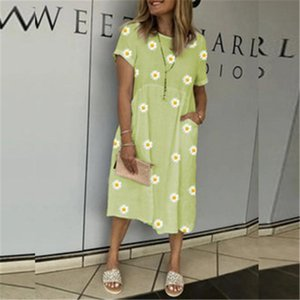 Designer Women New Dress Vintage Floral Print Loose Dress Summer Fashion Round Neck Petal Short Sleeve Dress Casual Party Women's Clothing